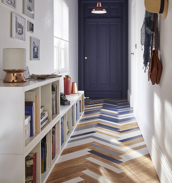 Modern hallway flooring ideas with colored floorboard