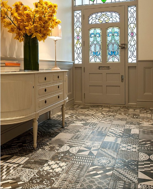 Modern hallway flooring ideas with contemporary tile pattern