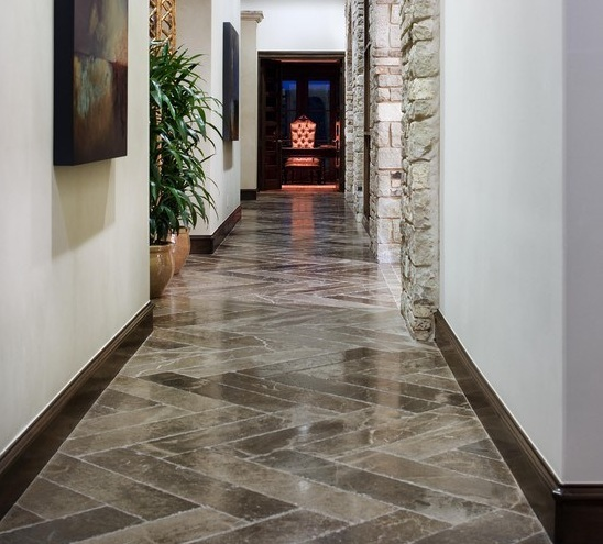 Modern hallway flooring ideas with flagstone flooring