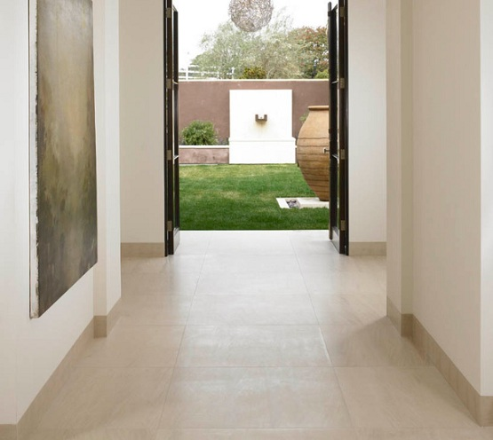 Modern hallway flooring ideas with limestone