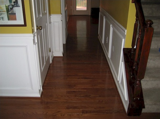 Modern hallway flooring ideas with natural wood floor