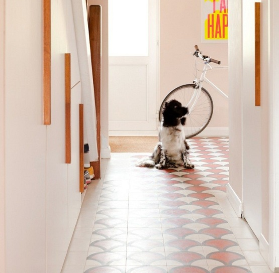 Modern hallway flooring ideas with unique tile pattern