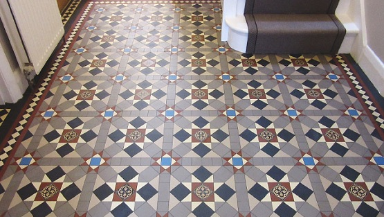 Multi colour encaustic victorian floor tiles