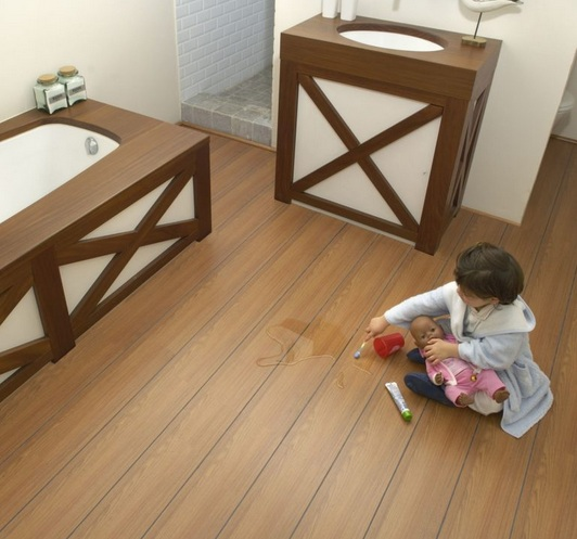 Waterproof laminate wood flooring in bathroom