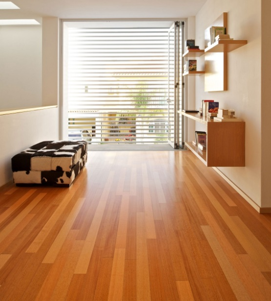 Waterproof laminate wood flooring in modern minimalist house