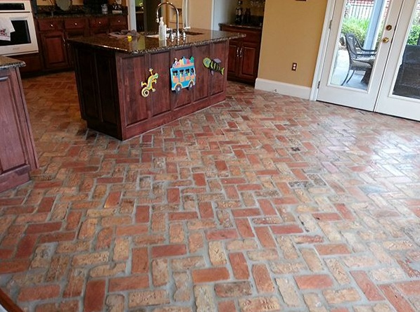 Indoor Brick Pavers Flooring In Kitchen
